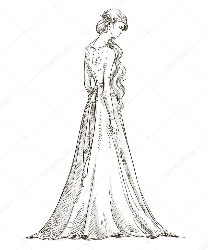 Drawn bride bridal Girl Vector — long