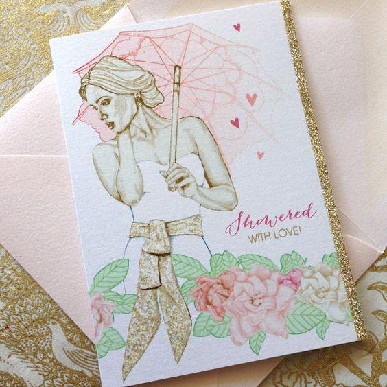 Drawn bride bridal Shower Elegant Card Bride drawn