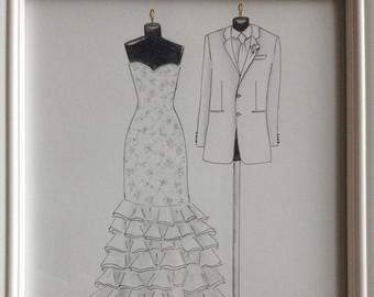 Drawn bride bridal Wedding portrait groom and wedding