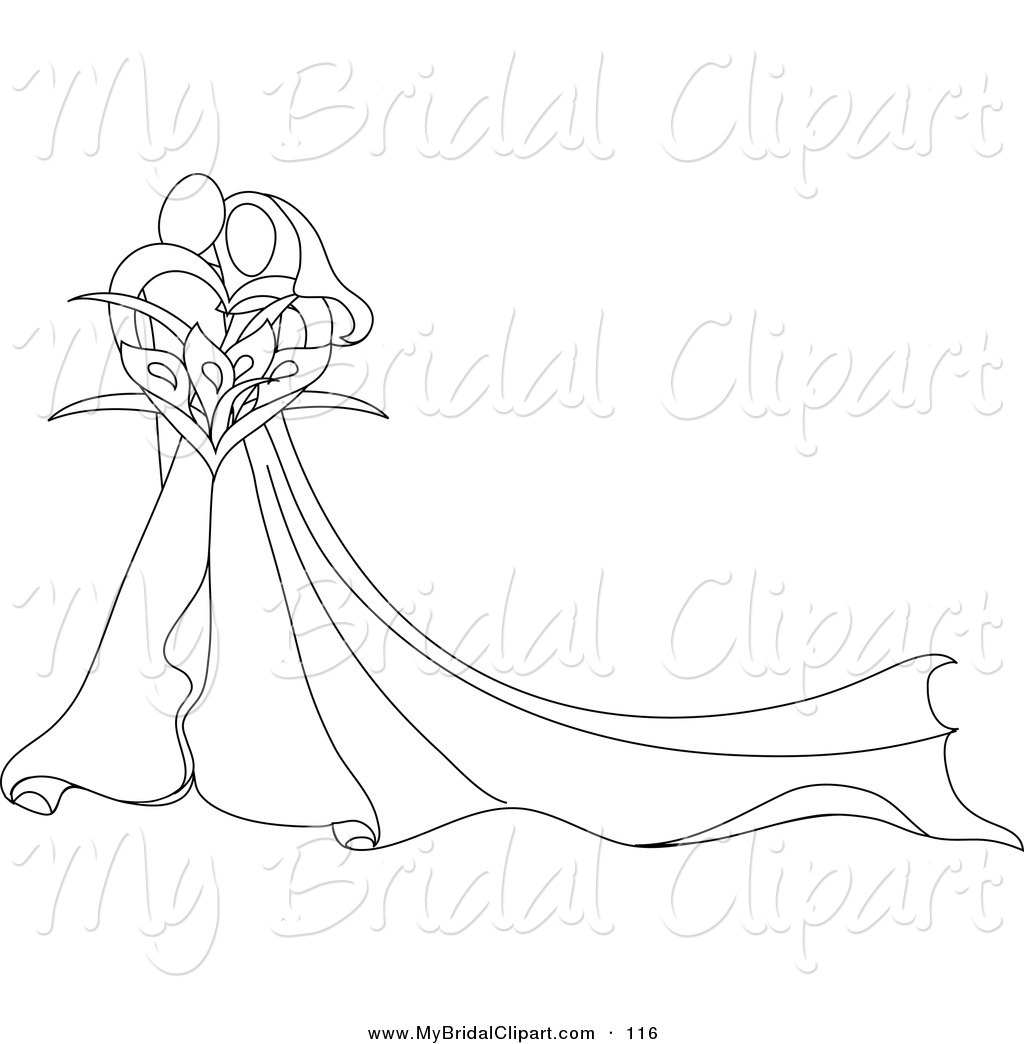Drawn bride bridal Abstract Royalty Bouquet Embracing Stock