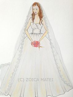 Drawn bride bridal Bride drawing original bouquet Red