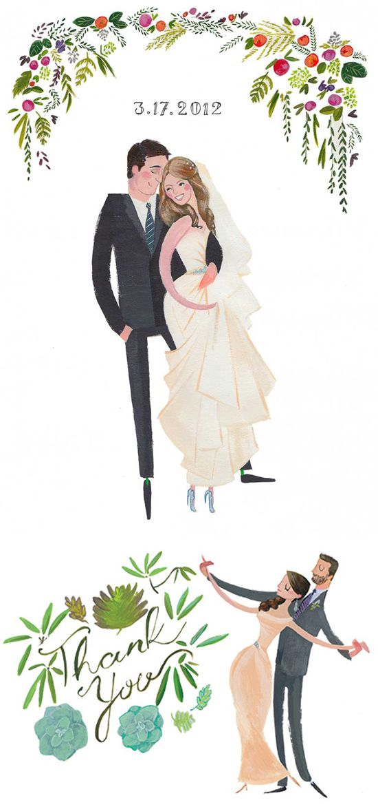 Drawn bride cute couple – Portraits images In on