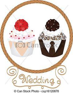 Drawn bride cute smile And wedding groom cupcakes kiss