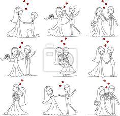 Drawn bride cute smile Veil ela casamento pedindo love