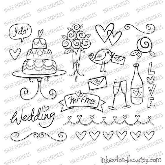 Drawn bride doodle 17 flowers wedding wedding pieces