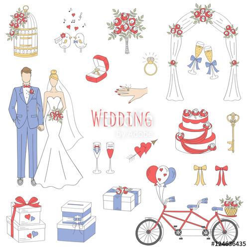 Drawn bride doodle Vector cake drawn bride set