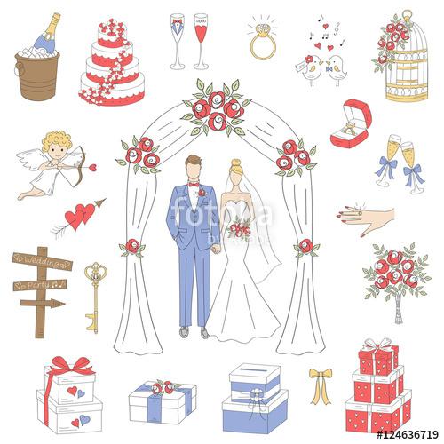 Drawn bride doodle Vector under drawn wedding set
