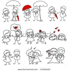 Drawn smile many Meeting cute cartoon love hand
