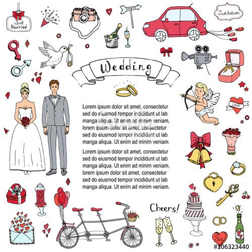 Drawn bride doodle Hand Big collection Wedding drawn