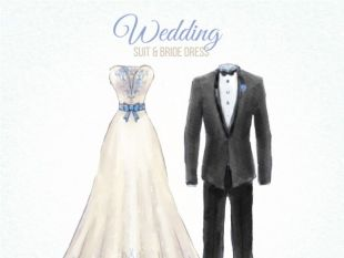 Drawn bride dress Nice and  suit sketch