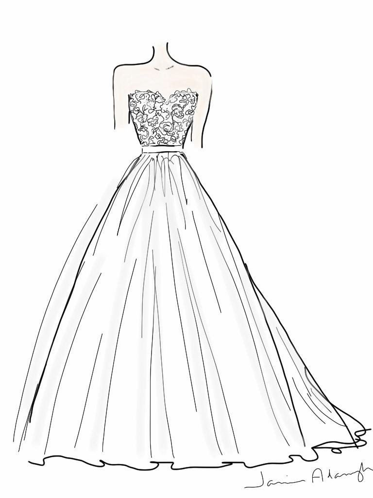 Drawn wedding dress simple #12