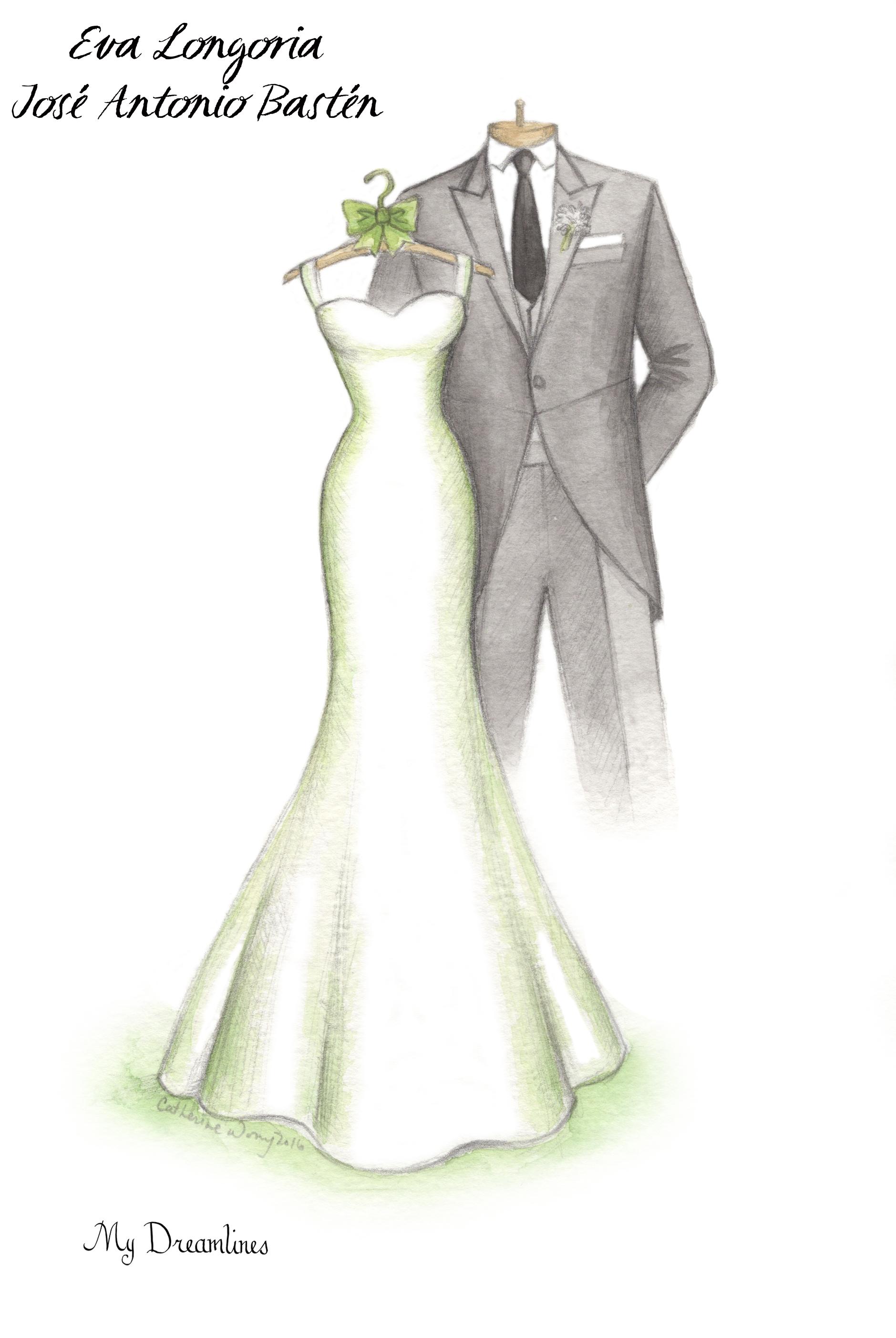 Drawn bride dress Celebrity Sketches Dress works How