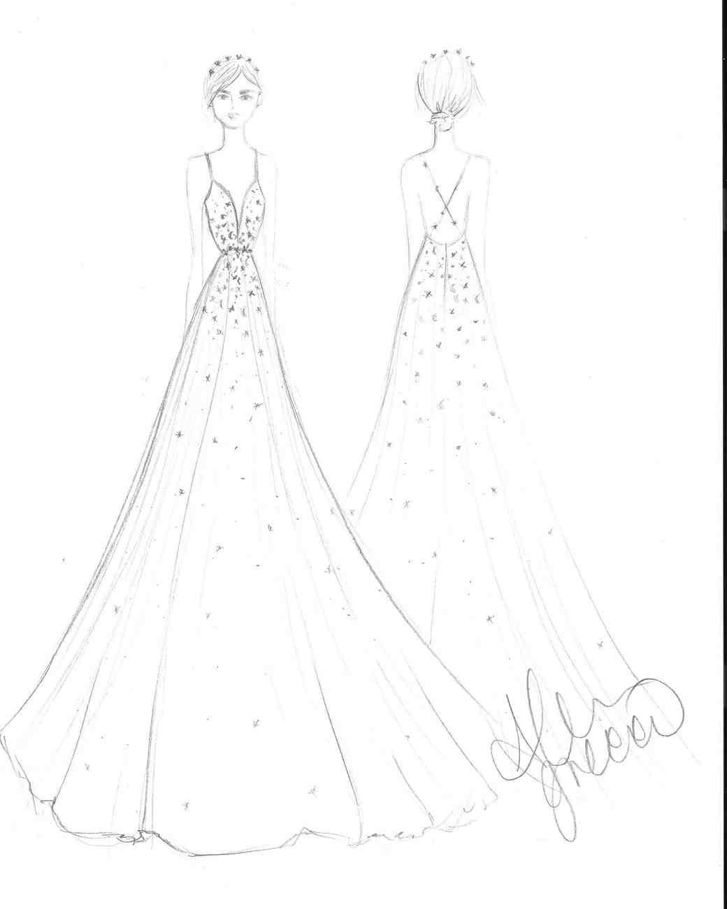 Drawn bride dress Spring Sketch BFW Bridal Spring