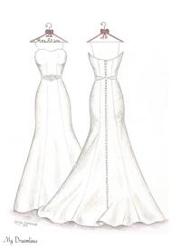 Drawn wedding dress back dress 3 Wedding Dreamlines Sketch Gallery