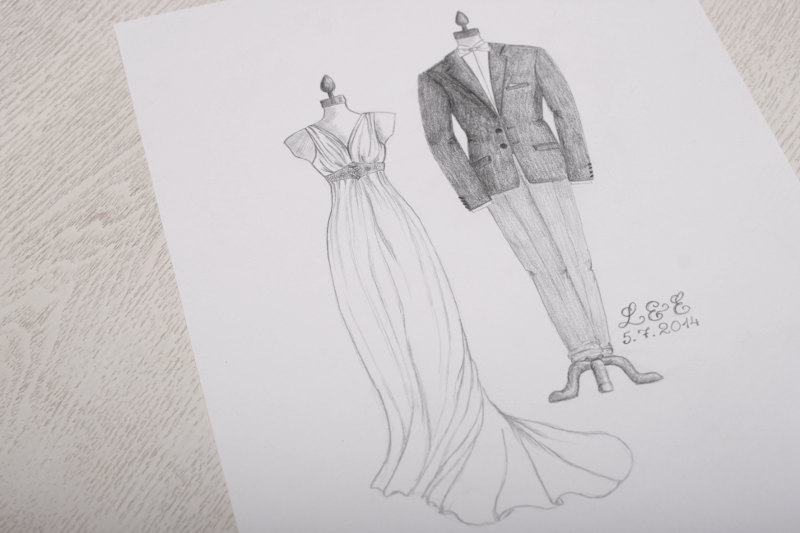 Drawn bride dress Custom Illustration By Dress