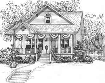 Drawn hosue black and white Of in drawing house Sketch