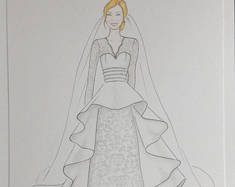 Drawn wedding dress christmas dress #9