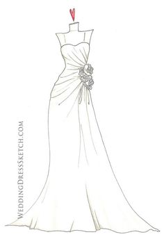 Wedding Dress clipart easy By  Sketch Custom+Wedding+Dress+Sketch++Personalized+by+WeddingDressSketch and