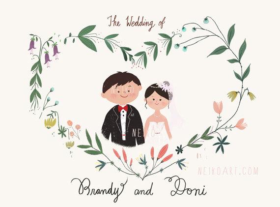 Drawn bride marriage Neiko Wedding Drawn Polka illustrations