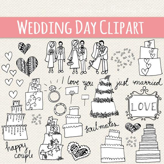 Drawn bride marriage CLIP // Vector Clipart Marriage