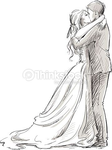 Drawn kisses person Art on sketch : Newlywed