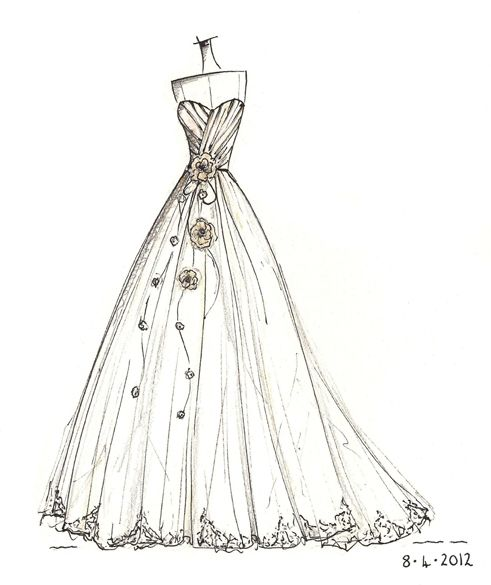 Drawn bride prom dress Sketches images dress best 64