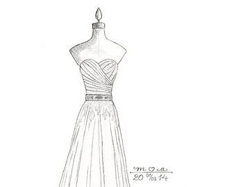 Drawn bride prom dress Column pencil hand drawing simple
