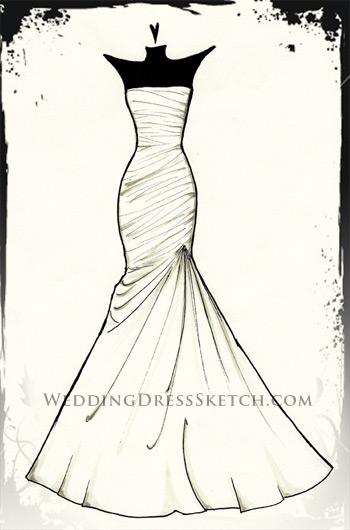 Drawn bride prom dress Illustration/sketch sketch weddingdresssketch drawing (wedding