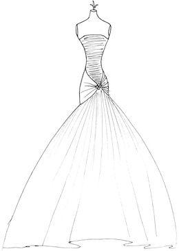 Drawn wedding dress simple #3