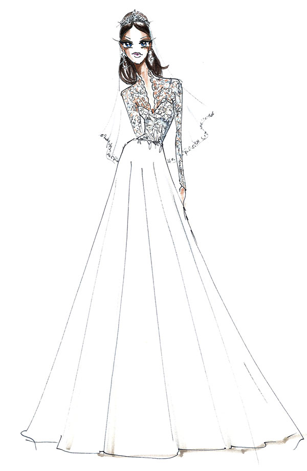 Drawn bride royal dress By Coloring Tree With Dress