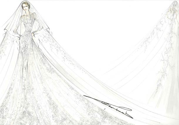 Drawn bride royal dress Updated wedding and wedding royal