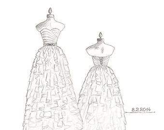 Drawn bride strapless dress Flower gown  siren drawings