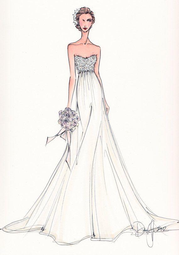 Drawn bride strapless dress Dress IllustrativeMoments Pinterest Wedding images