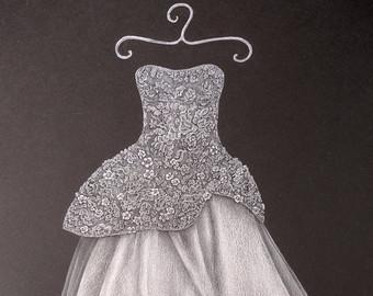 Drawn bride strapless dress Dress Custom 5x7 Drawing sketch