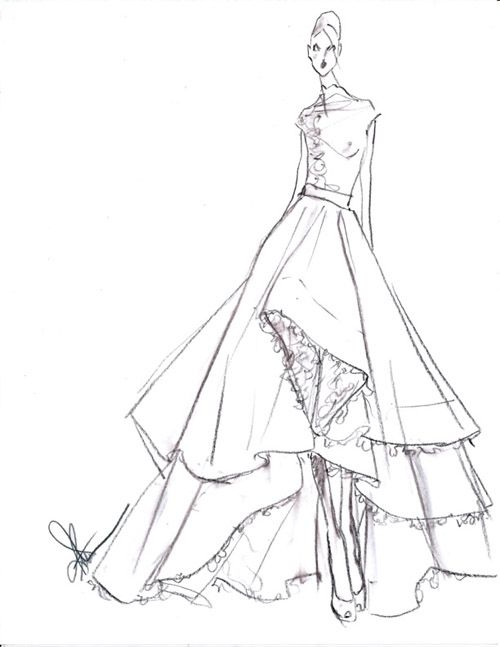 Drawn bride strapless dress 1225 2014 images wedding Pinterest