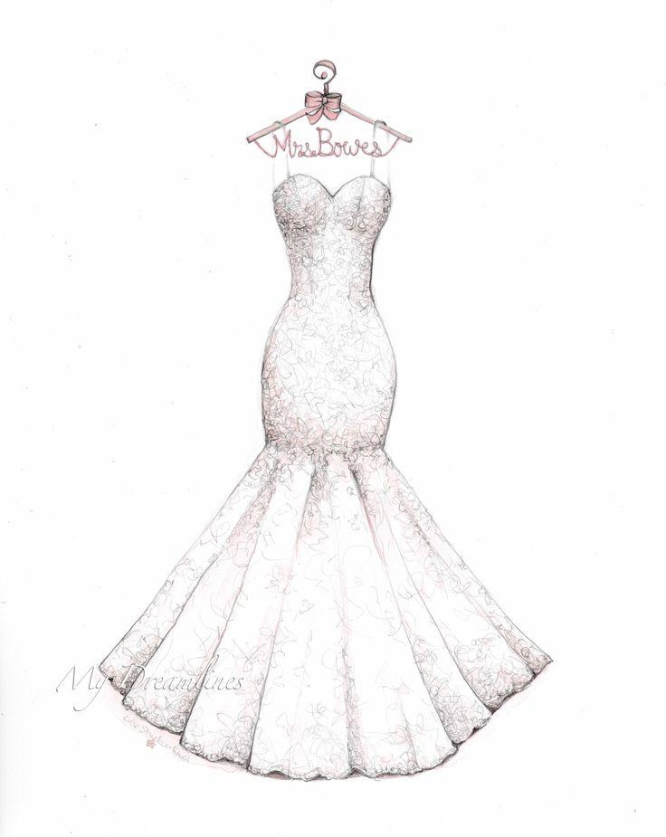 Drawn bride strapless dress Best decorative Pinterest sketches mermaid