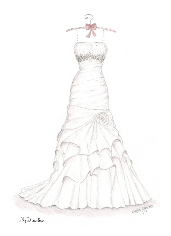 Drawn bride strapless dress Wedding Wedding Dreamlines Sketches Dress