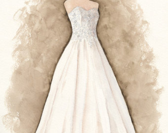 Drawn bride strapless dress Dress Illustration Wedding Etsy Custom