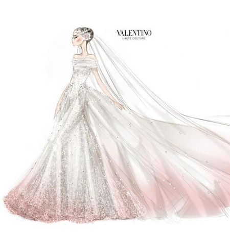 Drawn bride strapless dress Drawings Valentino Hathaway's on Anne