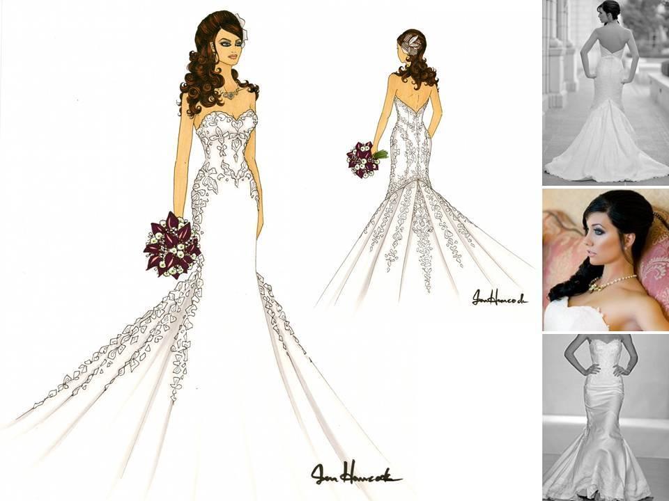 Drawn bride strapless dress Dress Bridesmaid Drawing Dress Drawing