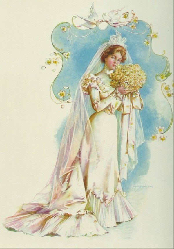 Drawn wedding dress vintage bride Vintage be in  Sarasota