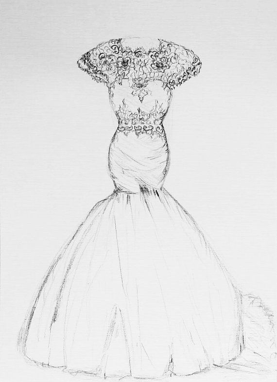 Drawn wedding dress unique Pinterest dress sketch drawing #bidalgift