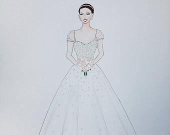 Drawn bride wedding anniversary Bride wedding groom sketch portrait