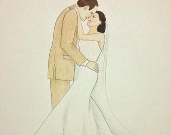 Drawn bride wedding anniversary Bride gift original drawing wedding
