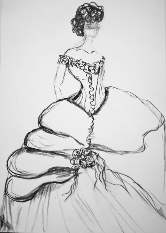 Drawn bride wedding anniversary Dress Personalized Custom Gift Wedding