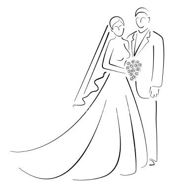 Drawn bride wedding anniversary And Groom Art Free Royalty