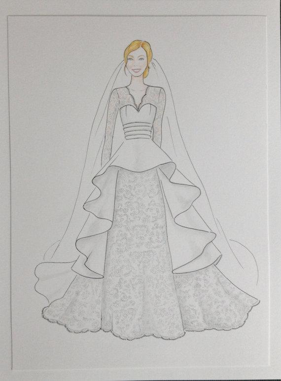 Drawn bride wedding anniversary Custom bride original paper bride