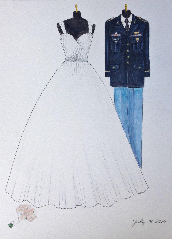 Drawn bride wedding anniversary This groom wedding uniform bride