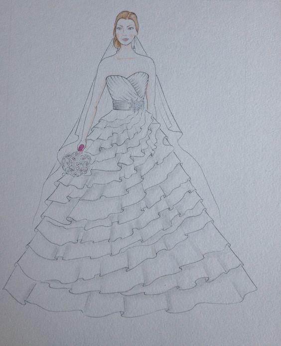 Drawn bride wedding anniversary Bride original bridal Custom portrait