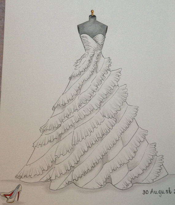 Drawn wedding dress vintage bride Wedding hand  sketch dress